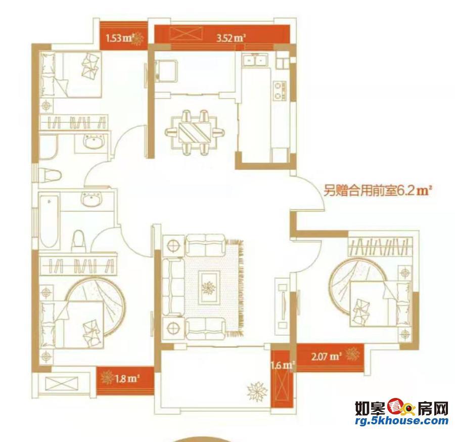 生活方便,久强幸福湾 850元/月 3室2厅2卫,3室2厅2卫 毛坯 ,部分家私电器