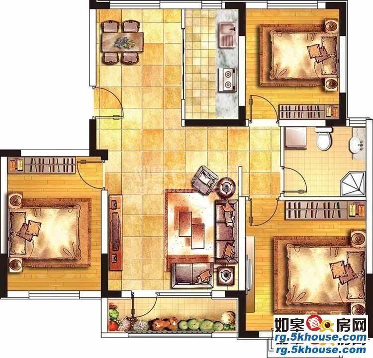 金科世界城 80万 3室2厅1卫 毛坯 ,舒适,视野开阔