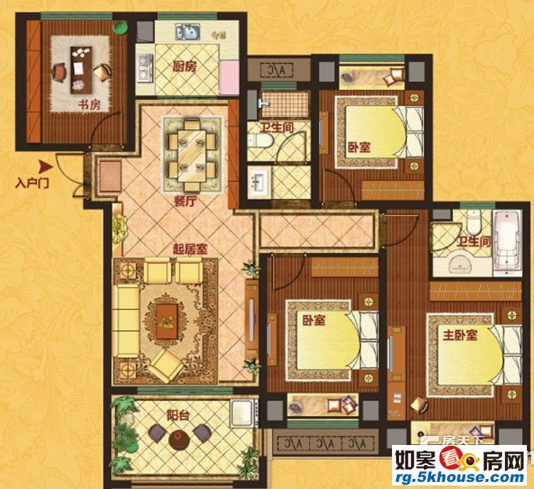 中南世纪城 18楼112平带车位 精装拎包住 通透户型 4室