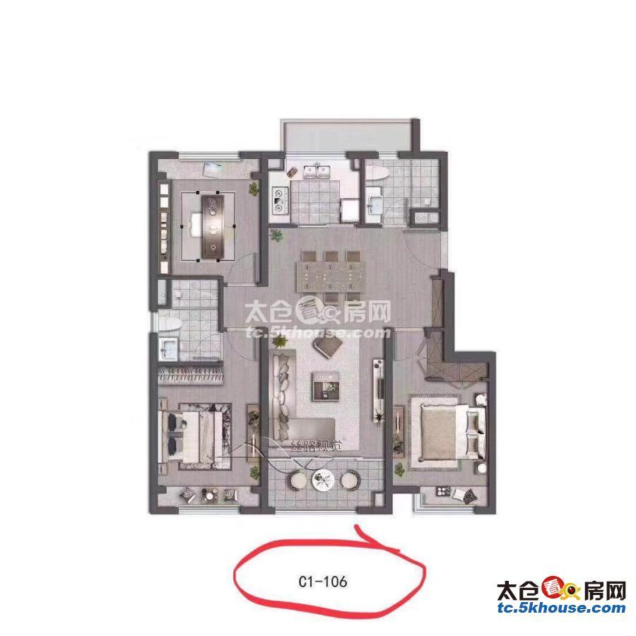 翡丽云邸 230万 3室2厅2卫 精装修 位置好、格局超棒、现在空置、随时入住