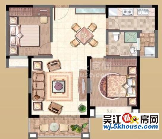 地铁站明珠城 190万 2室2厅1卫 精装修 满2年双阳台位置安静,