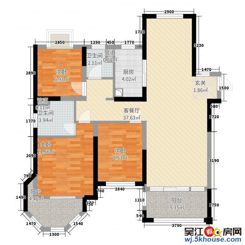 精装三房两厅两卫双衣帽间,全新未住。全明户型近地铁 好看房
